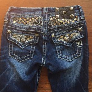Miss Me Sequin Flap Pocket Skinny w Rhinestones 10